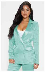 Petite Mint Longline Satin Mix Blazer, Green