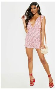 Red Floral Print Plunge Detail Playsuit, Red