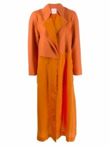 Agnona contrast panel midi coat - Orange