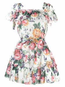 Zimmermann floral ruffle mini dress - Green