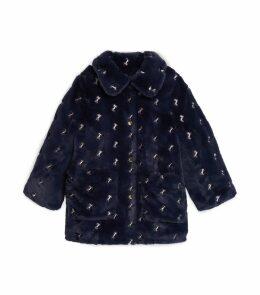 Faux Fur Horse Motif Coat