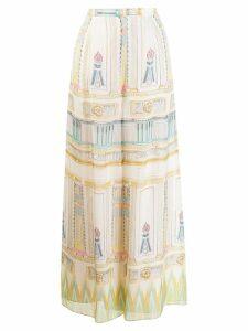 Temperley London Athena printed chiffon trousers - Neutrals