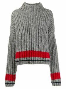 Dsquared2 stripe detail ribbed knit jumper - Grey