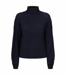 Textured Knit Turtleneck Sweater