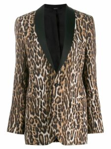 R13 leopard print single-breasted blazer - Black