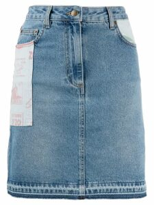 McQ Alexander McQueen patch denim skirt - Blue