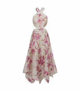 Corsage Floral Halterneck Dress