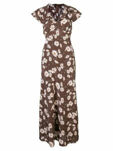 Michael Kors Collection daisy print flared dress - Brown