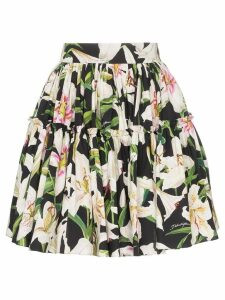 Dolce & Gabbana lily print flared skirt - Black