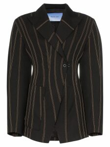 Mugler exaggerated waist striped blazer - Black