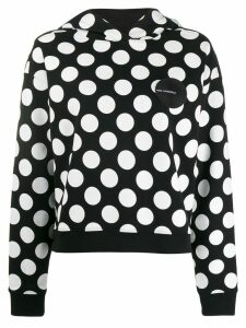 Karl Lagerfeld logo patch dotted hoodie - Black