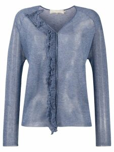 L'Autre Chose ruffle trim knitted top - Blue
