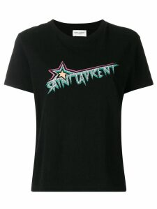 Saint Laurent star logo printed T-shirt - Black