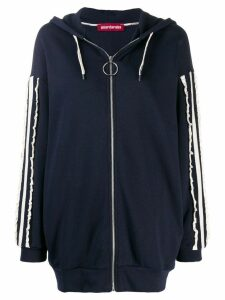 Guardaroba contrast ruched stripes hoodie - Blue