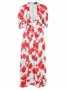 Proenza Schouler Splatter Floral Short Sleeve Tie Dress - Red