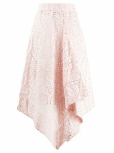 Ganni asymmetric perforated skirt - Pink
