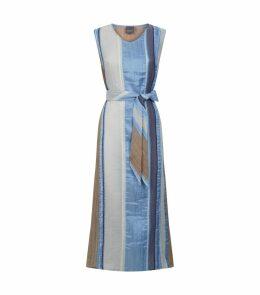 Silk-Cotton Striped Maxi Dress