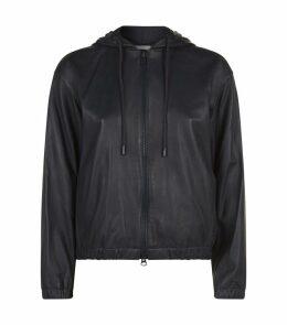 Leather Zip-Up Hoodie