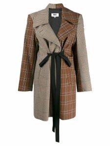 Mm6 Maison Margiela patchwork tweed coat - Brown