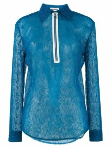 Each X Other zip front lace blouse - Blue