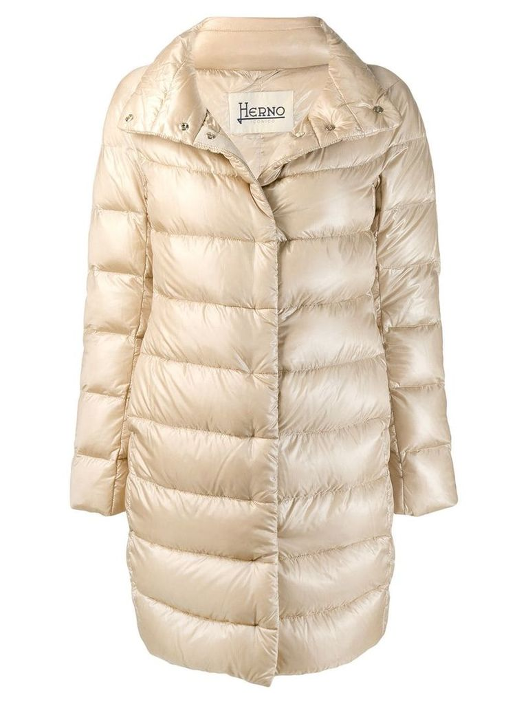 Herno concealed fastening padded coat - Neutrals