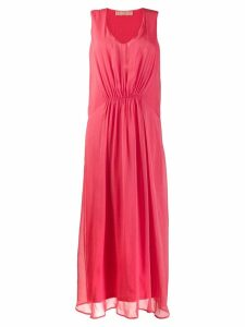 120% Lino long sleeveless ruched dress - Pink