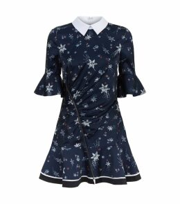 Star Print Mini Dress with Collar
