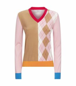 Colour Block Argyle Sweater
