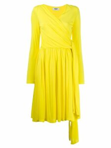MSGM long sleeve wrap dress - Yellow