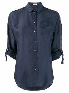 Brunello Cucinelli tailored buckle sleeved shirt - Blue