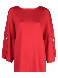 Adam Lippes slit sleeve knitted top - Red