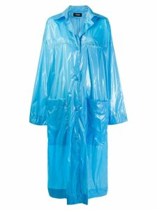 Kwaidan Editions wet look buttoned coat - Blue