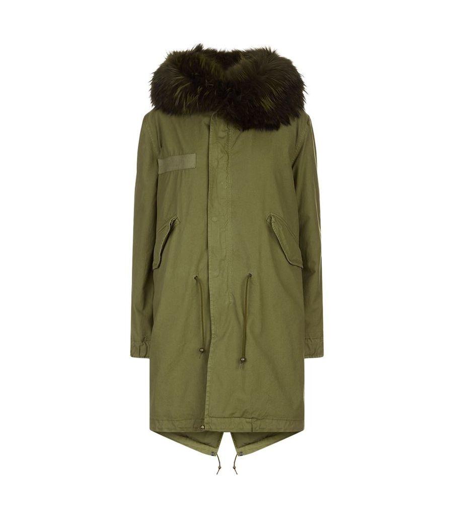 Fox Fur Hooded Long Parka Jacket