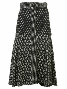 Proenza Schouler Block Print Flared Skirt - Black