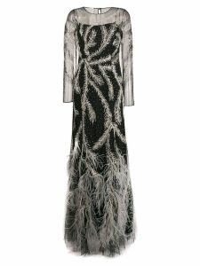 Alberta Ferretti feathered embellished gown - Black