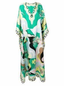 Emilio Pucci Printed Silk V-Neck Kaftan - Green