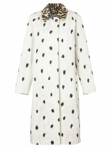 Burberry Animal Print Cotton Car Coat - White