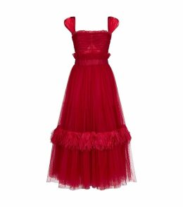 Flocked Tulle Flared Dress