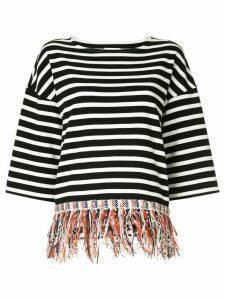 Coohem fringed striped T-shirt - Black