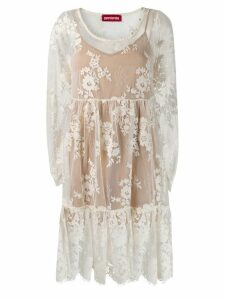 Guardaroba lace flared dress - White