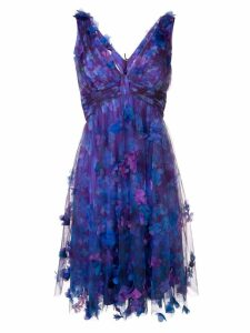 Marchesa Notte 3D floral overlay cocktail dress - Purple