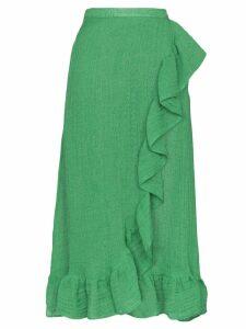 Lisa Marie Fernandez ruffled wrap midi skirt - Green