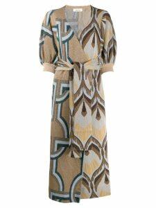 Circus Hotel knitted geometric wrap dress - Neutrals