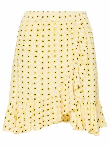 Ganni daisy print wrap skirt - Yellow