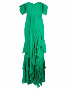 Badgley Mischka off-shoulder tiered ruffle gown - Green