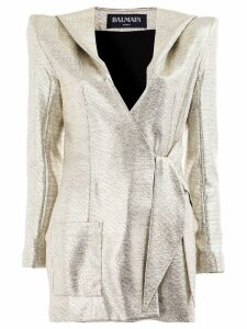 Balmain structured wrap front blazer - Grey