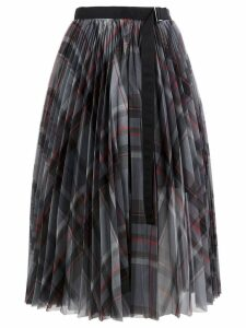 Sacai checked pleated skirt - Grey
