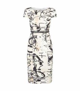 Scribble Print Midi Dress