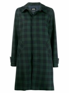 A.P.C. plaid single breasted coat - Blue