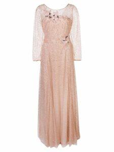 Marchesa Notte glitter overlay cocktail dress - Pink
